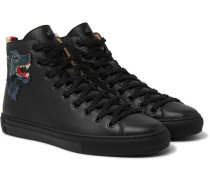 Major Wolf-appliquéd Full-grain Leather High-top Sneakers