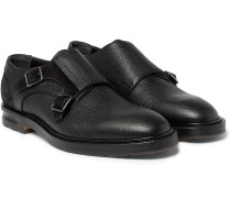 Suede-panelled Full-grain Leather Monk-strap Shoes