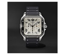 Santos de Cartier Automatic Chronograph 43.3mm Interchangeable ADLC-Coated Stainless Steel, Alligator and Rubber Watch, Ref. No. WSSA0017