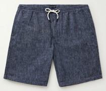 Linen and Cotton-Blend Drawstring Shorts
