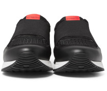 Elasticated-strap Leather, Suede And Mesh Sneakers