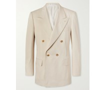 Andy Double-Breasted Silk-Twill Suit Jacket