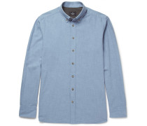 Slim-fit Button-down Collar Brushed-cotton Chambray Shirt