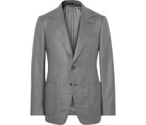 Grey Shelton Slim-fit Silk And Cashmere-blend Blazer