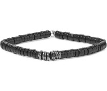 Onyx And Gunmetal-plated Silver Bead Bracelet