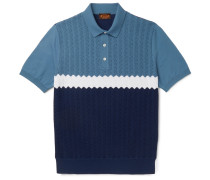 Colour-block Knitted Cotton Polo Shirt