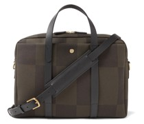 Endeavour Leather-Trimmed Checked Canvas-Jacquard Briefcase