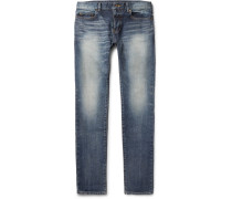 Skinny-fit 15cm Hem Washed Stretch-denim Jeans
