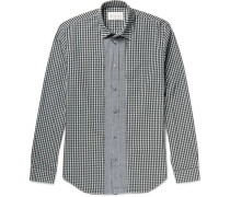 Slim-fit Button-down Collar Gingham Cotton Shirt