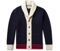 Shawl-collar Colour-block Wool Cardigan