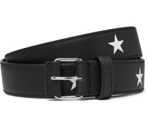3cm Star-print Leather Belt