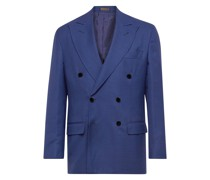 Double-Breasted Unstructured Micro Basketweave Virgin Wool Suit Jacket