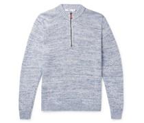 Mélange Linen Half-Zip Sweater
