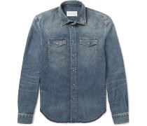 Slim-fit Distressed Stonewashed Denim Shirt
