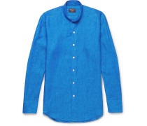 Slim-fit Grandad-collar Linen Shirt