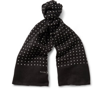 Polka-dot Linen And Cotton-blend Scarf
