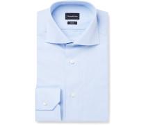 Blue Slim-fit Cutaway-collar Trofeo Cotton Shirt