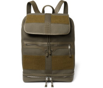 Traveller Leather And Felt-trimmed Canvas Backpack