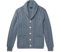 Shawl-collar Cable-knit Cotton Cardigan