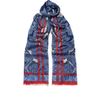 Paisley-print Cotton, Silk And Wool-blend Scarf