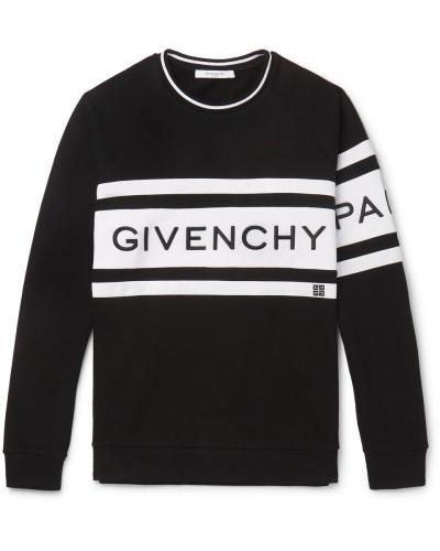 Logo-embroidered Striped Loopback Cotton-jersey Sweatshirt - Black