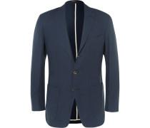 Navy Slim-fit Linen Blazer