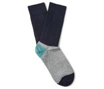 Colour-block Mélange Cotton-blend Socks