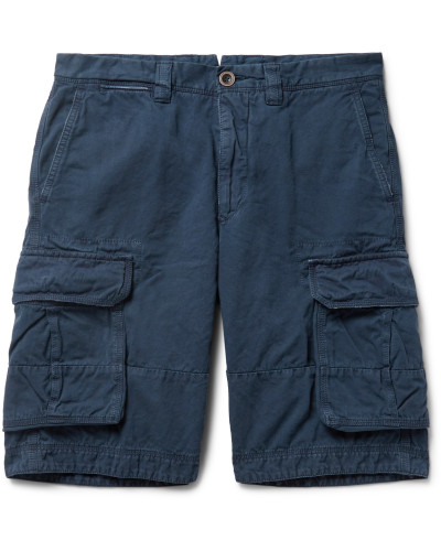 Washed Cotton and Linen-Blend Cargo Shorts