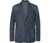 Blue Slim-fit Washed-denim Blazer