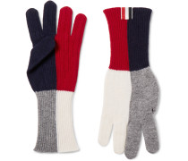 Colour-block Merino Wool Gloves