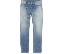 Skinny-fit Faded Washed-denim Jeans