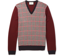 Checked Wool And Cashmere-blend Sweater
