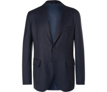 Blue Water-resistant Wool-twill Blazer