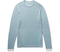 Slim-fit Contrast-tipped Mélange Cotton And Cashmere-blend Sweater