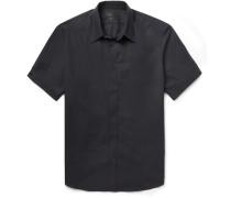 Black Slim-fit Short-sleeved Cotton Shirt