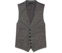 Grey Slim-fit Prince Of Wales Checked Wool Waistcoat