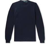 Slim-Fit Honeycomb-Knit Cotton Sweater