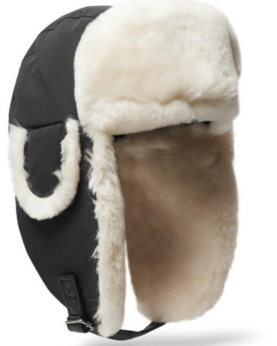 Shearling-trimmed Shell Trapper Hat - Black