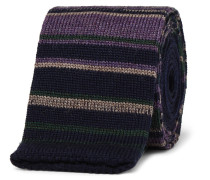 5cm Striped Knitted Wool Tie