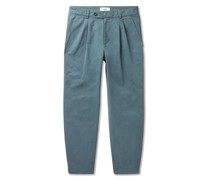 Tapered Garment-Dyed Pleated Cotton Trousers