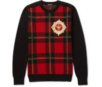 Appliquéd Intarsia Wool-blend Sweater