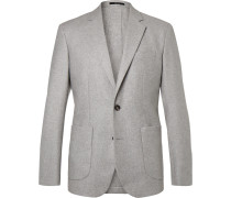 Grey Slim-fit Unstructured Cashmere Blazer