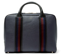 Webbing-trimmed Full-grain Leather Briefcase