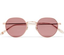 Robson Round-Frame Rose Gold-Tone Stainless Steel Sunglasses