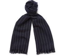 Fringed Pinstriped Cashmere Scarf