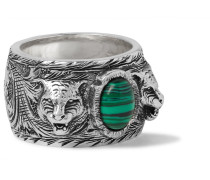 Burnished Sterling Silver Malachite Ring