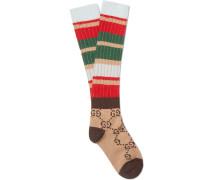Intarsia-knit Socks