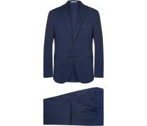 Blue Slim-fit Stretch-cotton Twill Suit