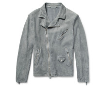 Slim-fit Washed-suede Biker Jacket