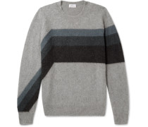 Striped Cashmere And Camel Hair-blend Sweater